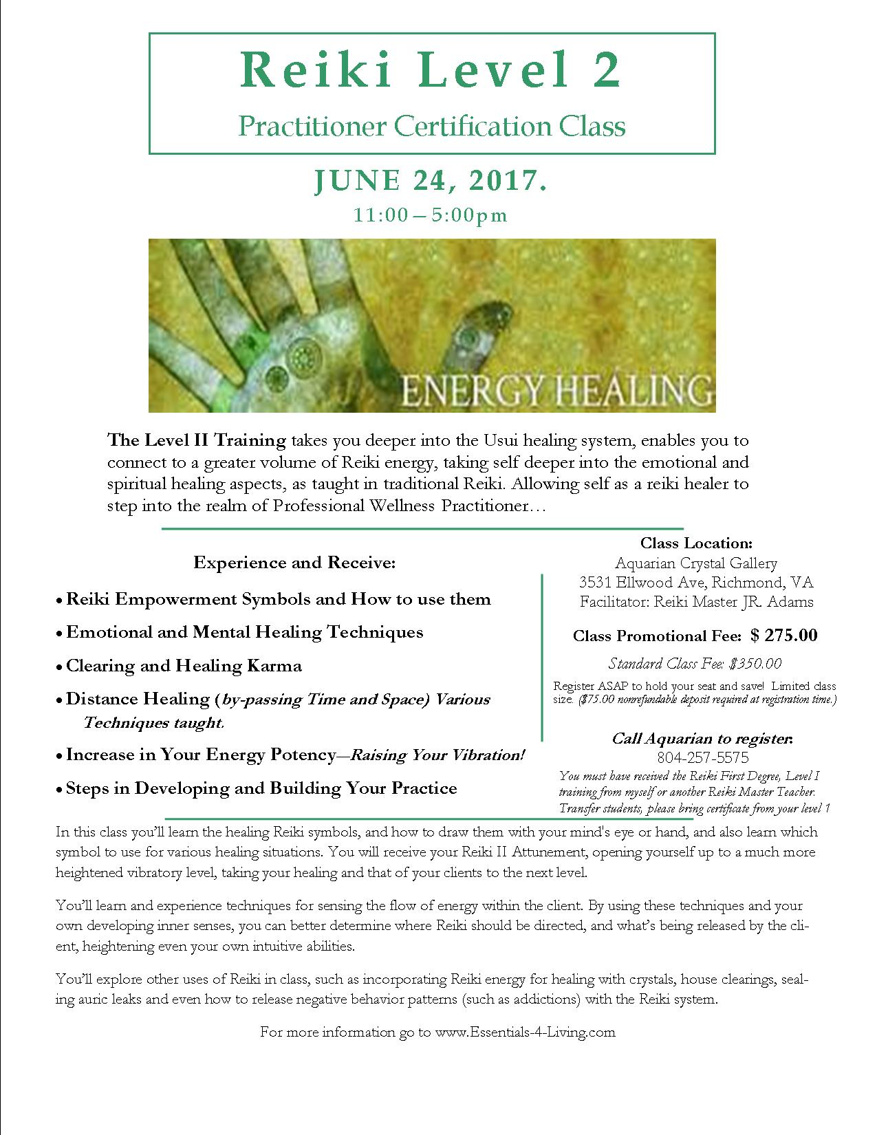 Reiki Level II Practitioner Class Flier summer 2017