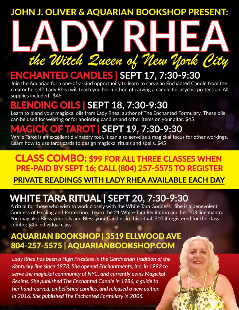 Lady Rhea Aquarian visit Sept 2017 Enchanted Candles, Blending Oils, Magick of Tarot & White Tara Ritual