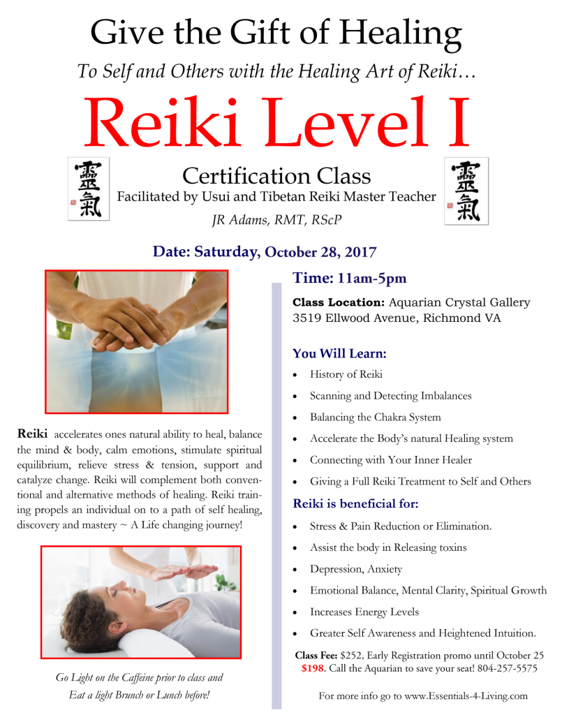 Reiki Level I Certification October 28