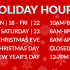 Extended Holiday Hours 2017