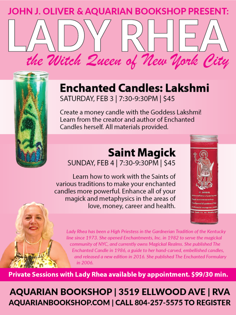 Lady Rhea Candle Magick at the Aquarian Bookshop Feb 3 & 4 2018