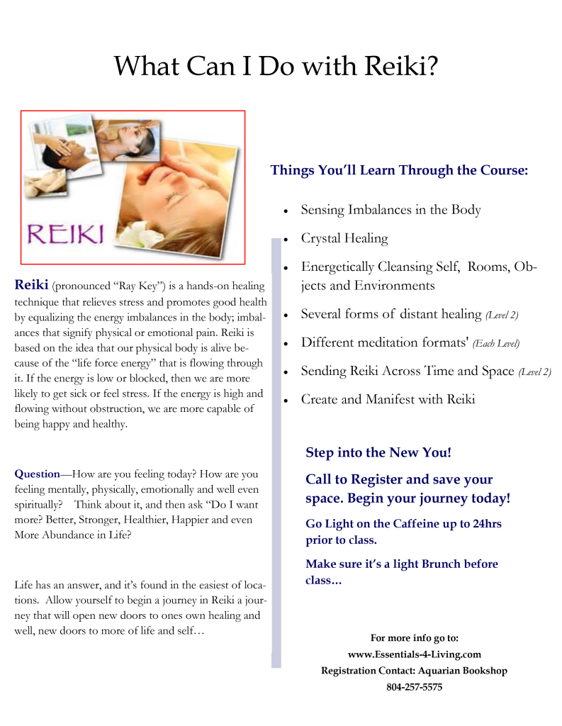 Reiki Level I Certification and Attunement January 2018