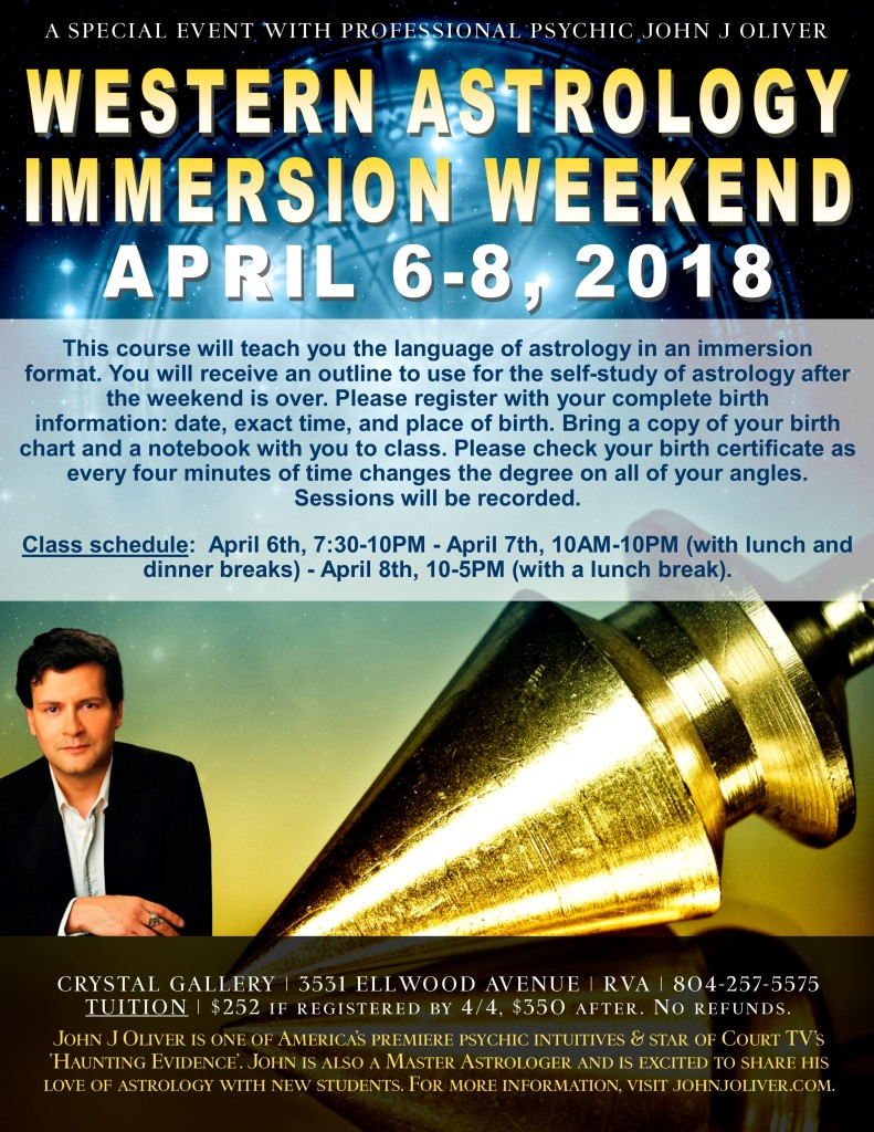 Western Astrology Immersion Weekend with John J Oliver