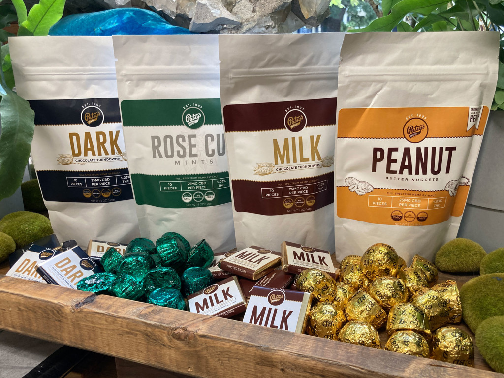 Patsy's Originals CBD Chocolates Dark Turndowns, Rose Cup Mints, Milk Turndowns, and Peanut Butter Nuggets