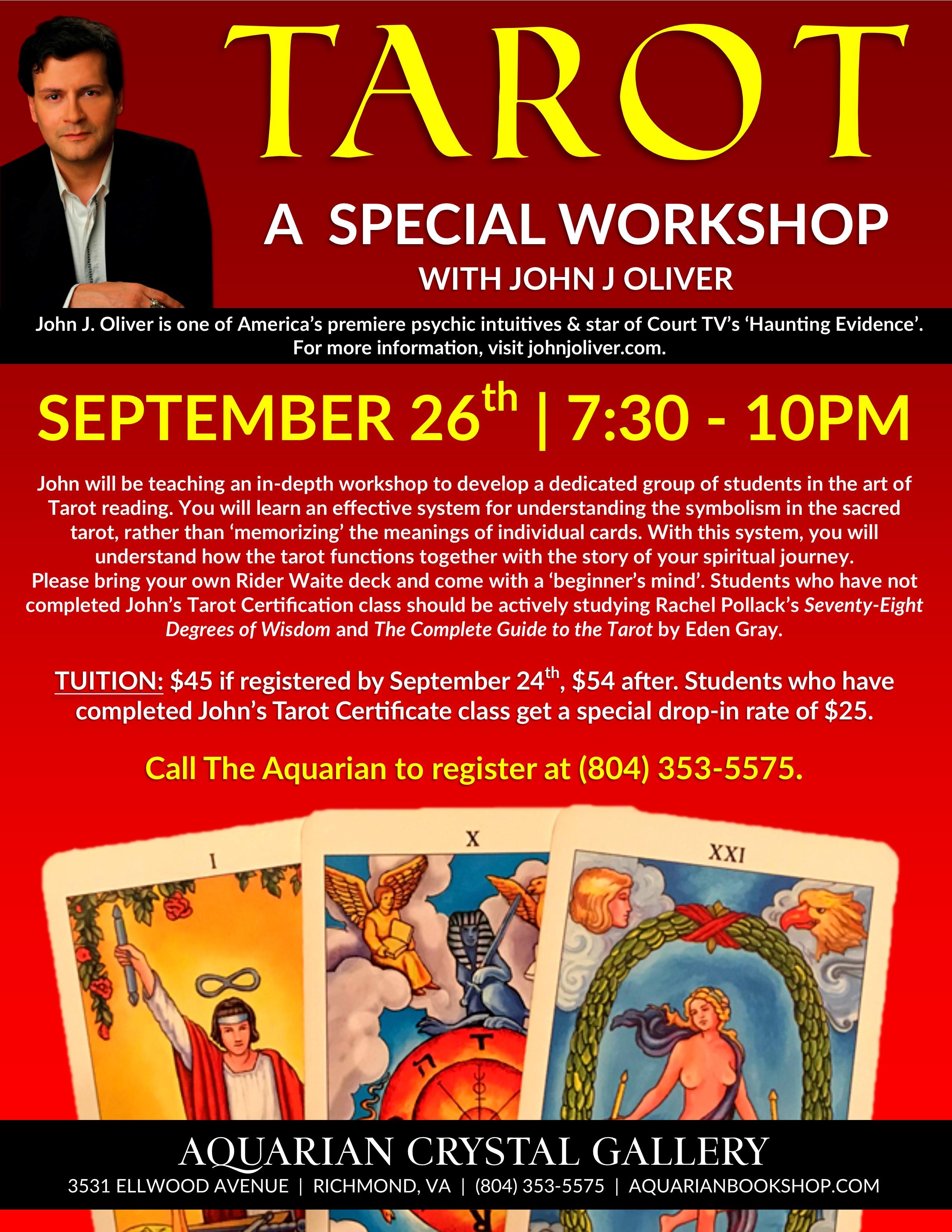 Tarot Workshop with John J Oliver
