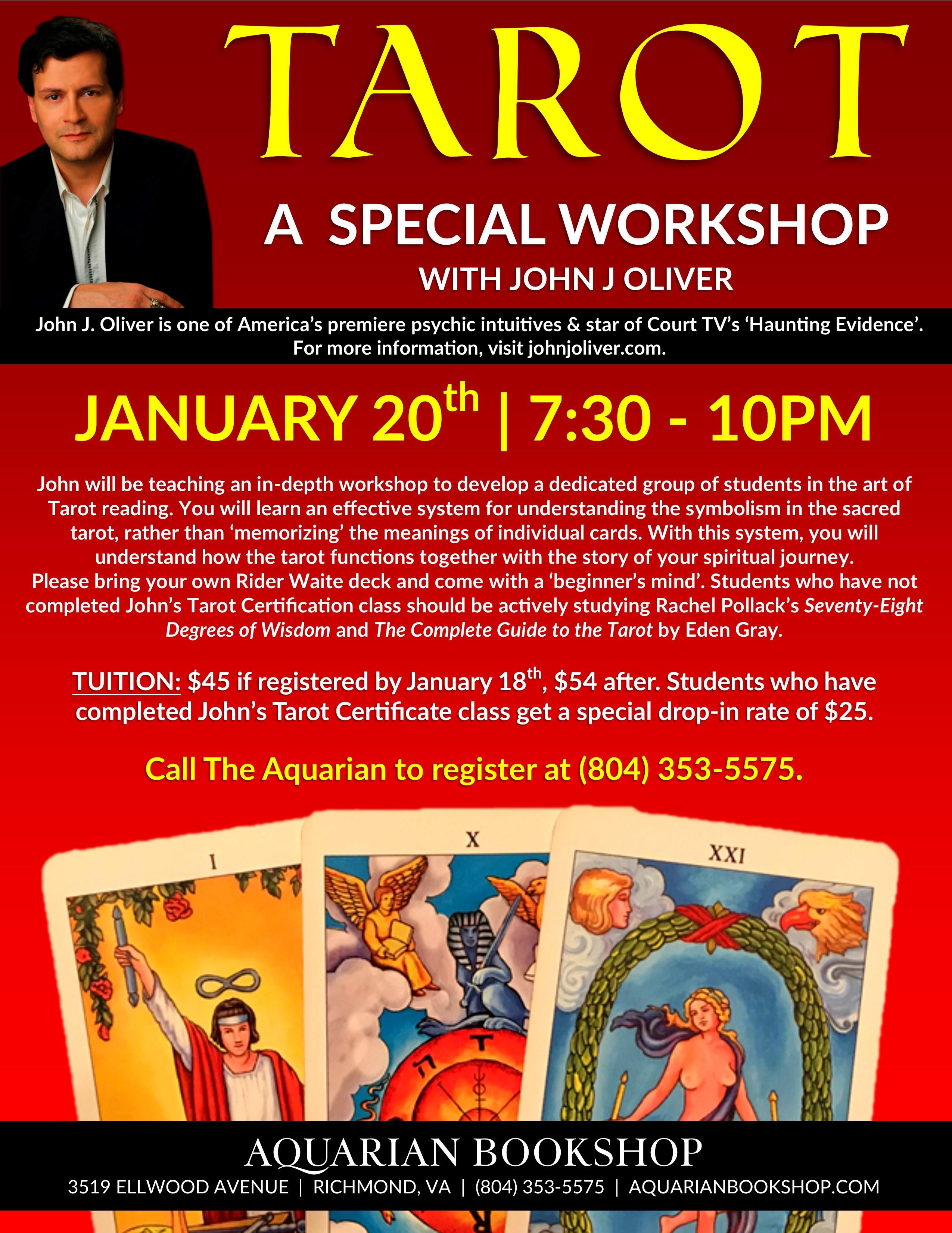 Tarot Workshop with John J Oliver January 20th 7:30-10PM