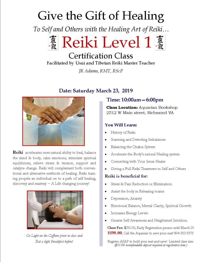 Reiki Level I March 2019 Class Flier
