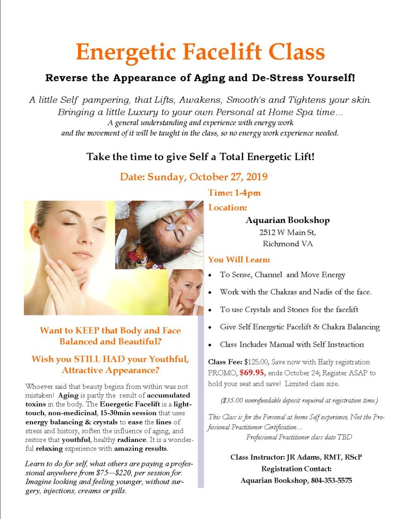Energetic Facelift Day Spa Class Flier October 2019