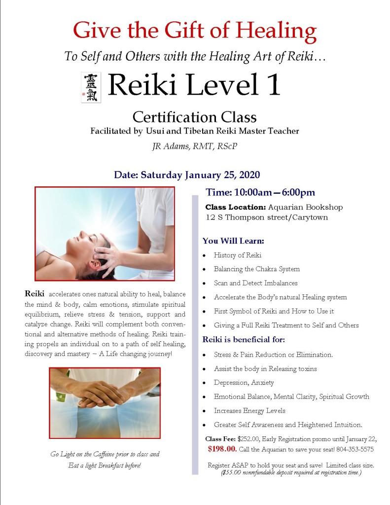 Reiki Level I - JAN 2020 Class Flier