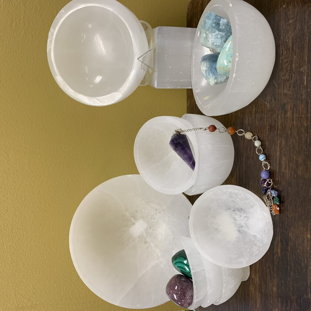 Selenite bowls of different sizes