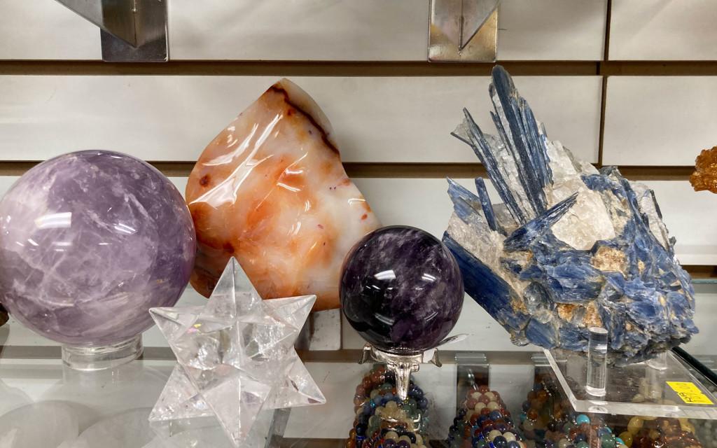 Amethyst, Clear Quartz Merkaba, Carnelian Flame, Amethyst Sphere, Kyanite Raw Natural Formation