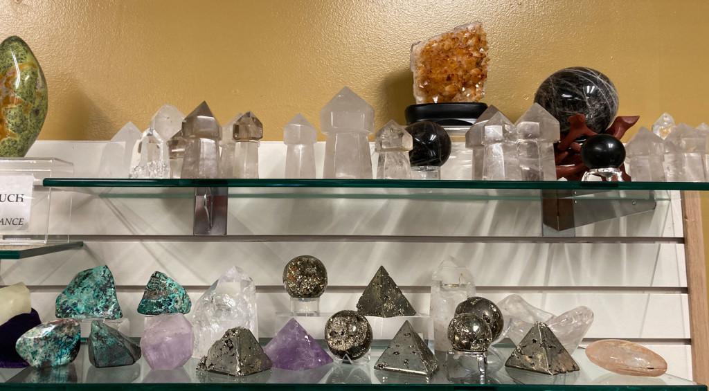 Clear Quartz Points, Scepter Quartz, Citrine Geode, Black Moonstone Sphere, Shattuckite SpecimensAmethyst, Pyrite Pyramids & Spheres