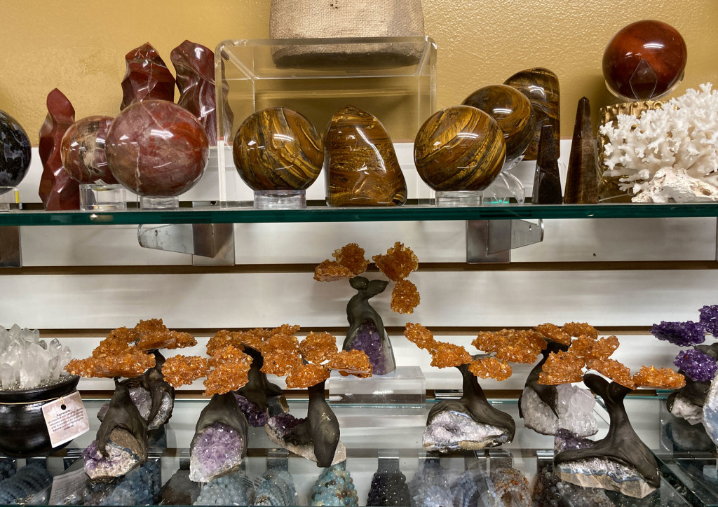 Petrified Wood, Tiger Eye, Citrine Crystal Trees on Amethyst