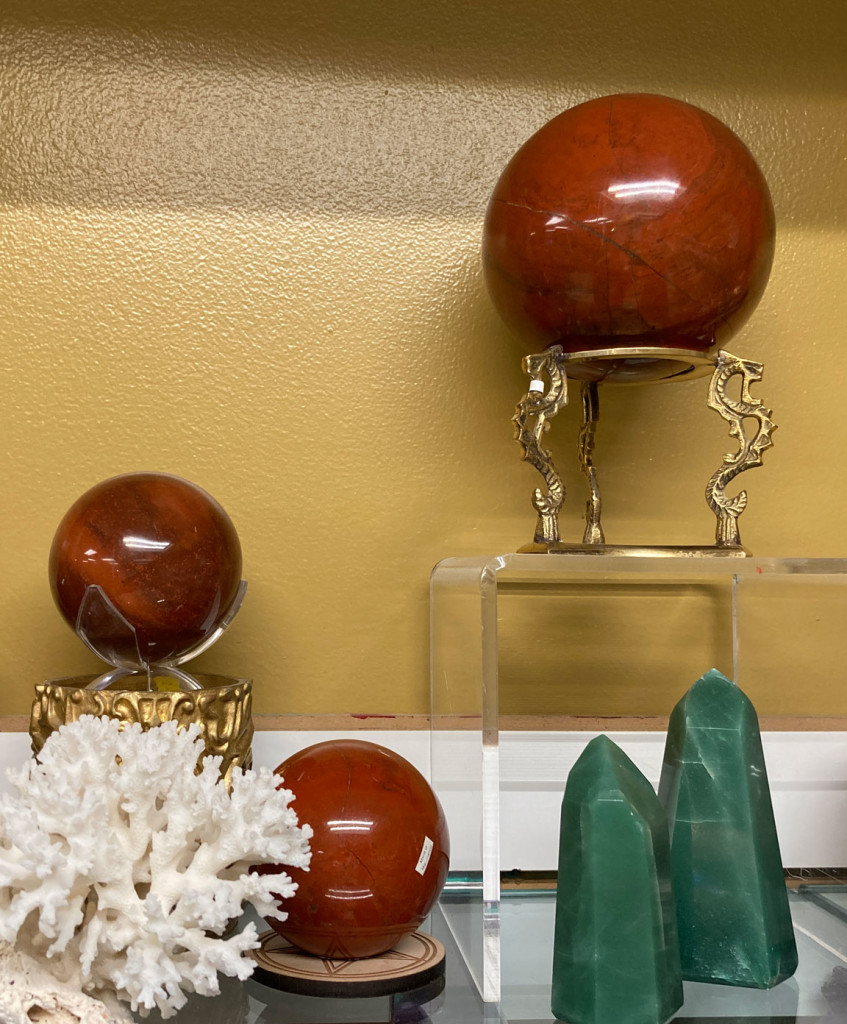 Red Jasper Spheres, White Coral and Green Aventurine Points