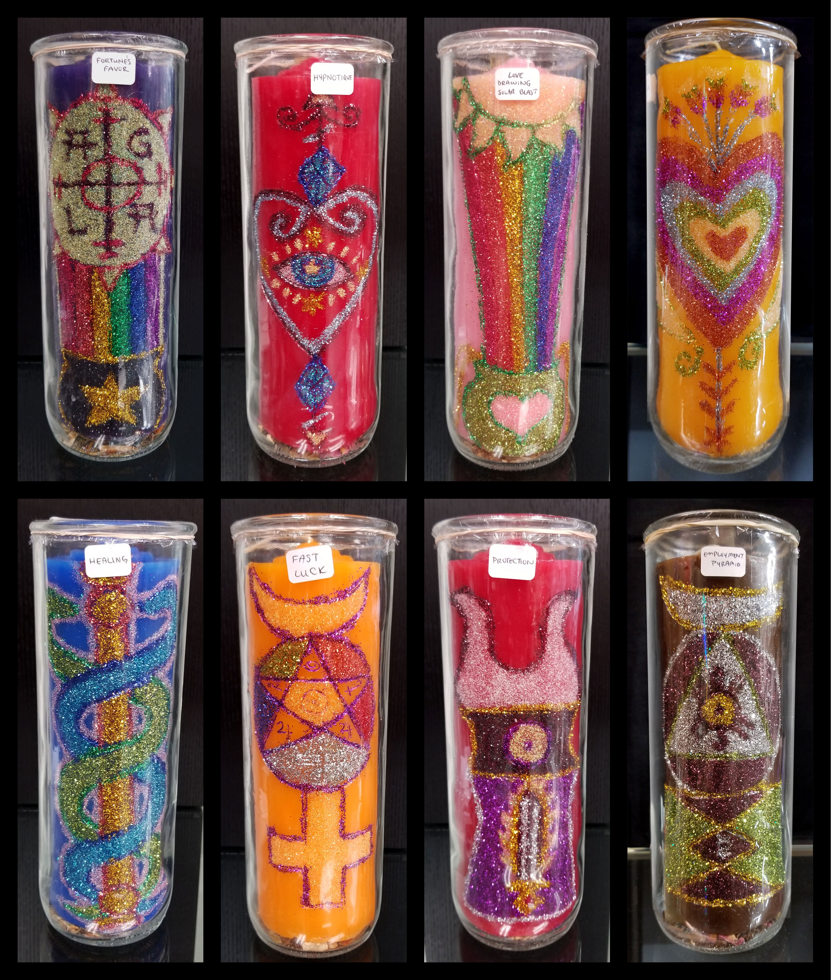 Fortune's Favor, Hypnotique, Love Drawing Solar Blast, Love's Messenger, Healing, Fast Luck, Protection, and Employment Pyramid Enchanted Candles