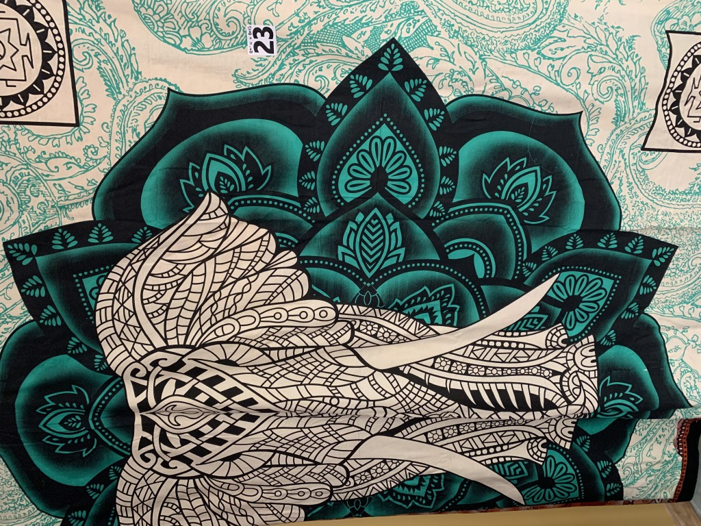Teal, Black & White Elephant Tapestry
