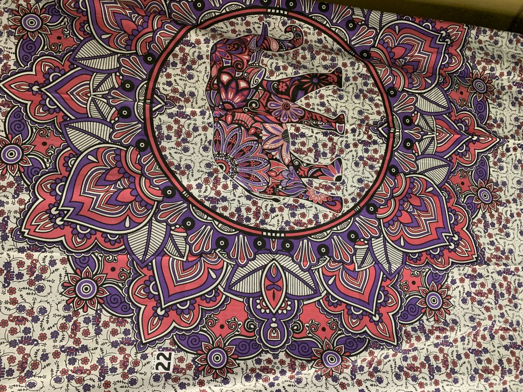 Pink, Purple & White Elephant Tapestry