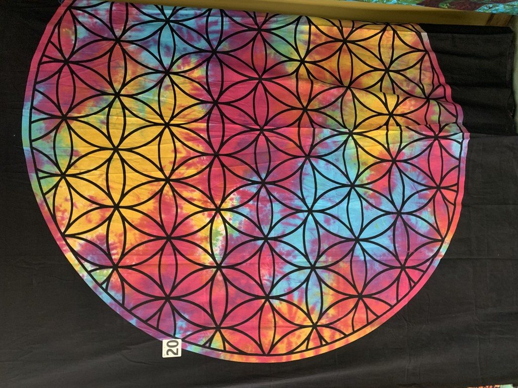 Rainbow Tie-Dye Flower of Life Tapestry
