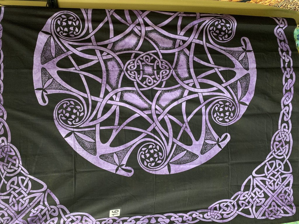 Purple and Black Celtic Nordic Knotwork Circle Tapestry