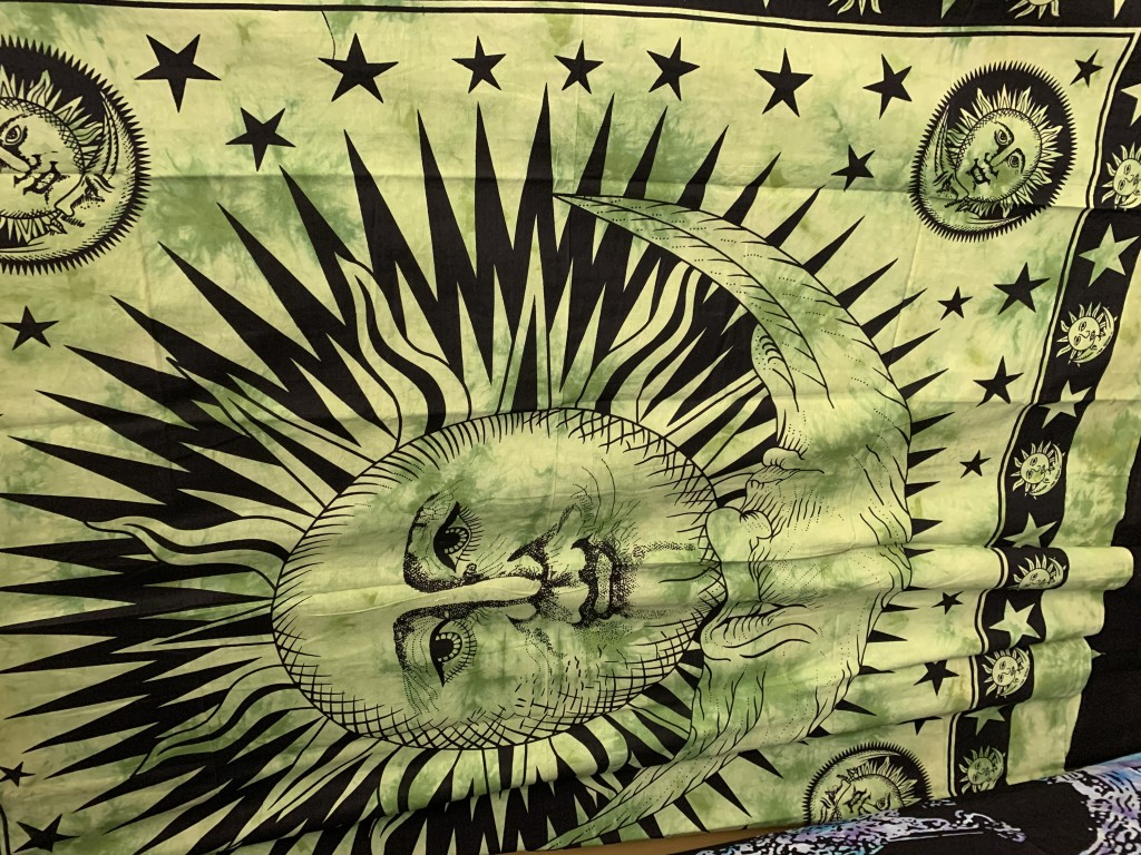 Green and Black Sun and Moon Tapestry