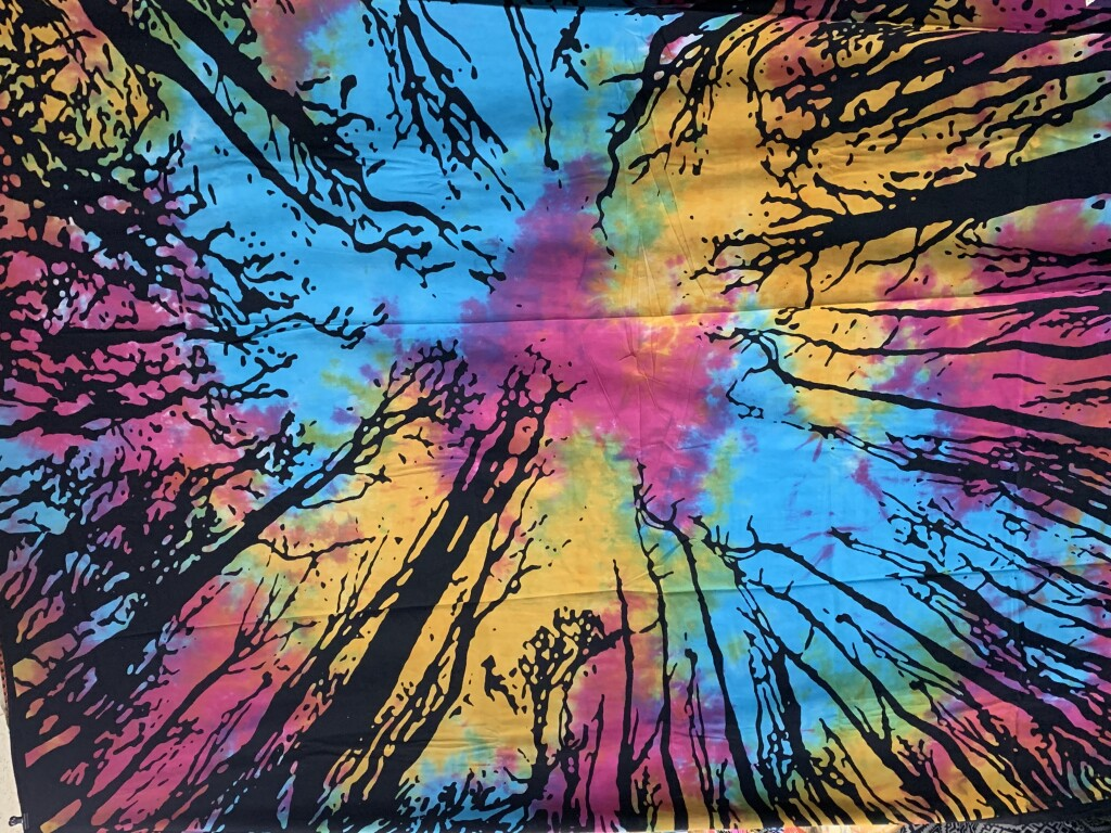Tiedye Background Tree Silhouette Sky Perspective Wall Tapestry