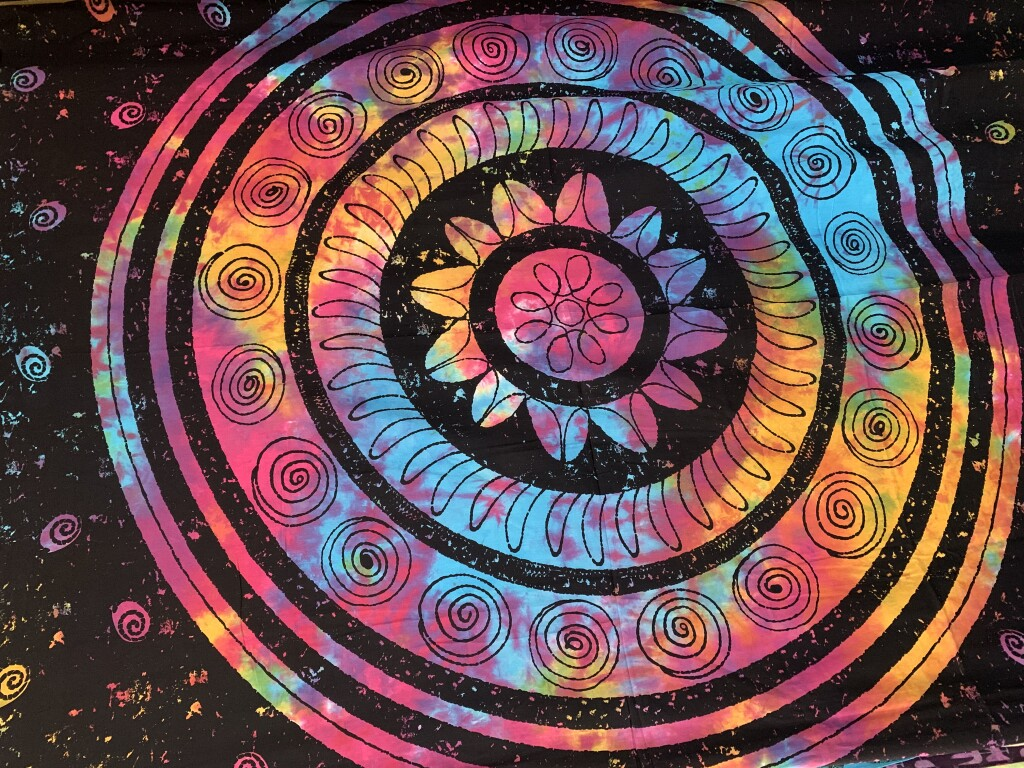Blue, Pink and Yellow Tie-Dye Spiral Mandala
