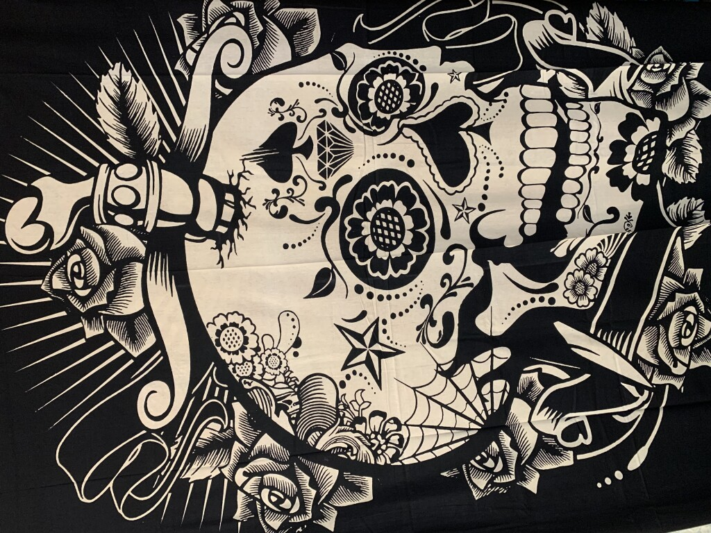 Black and White Tattoo Skull Wall Tapestry