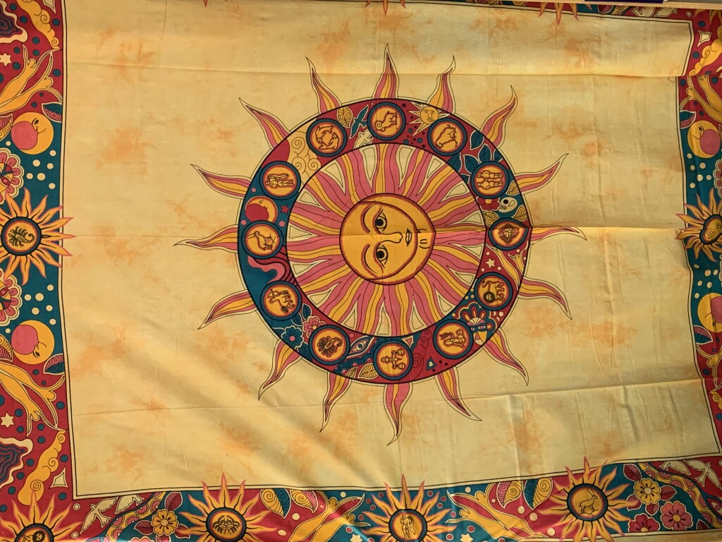 Yellow, Orange and Green Sun Astrology Wall Tapestry with Zodiac Symbols