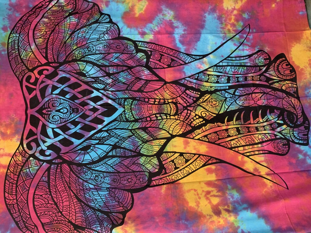 Pink, Blue & Yellow Tie-Dye with Elephant Print in Black Wall Tapestry