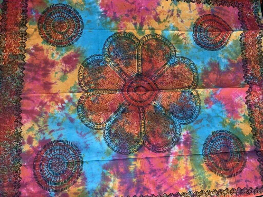 Pink, Yellow & Blue Tie Dye Flower Wall Tapestry