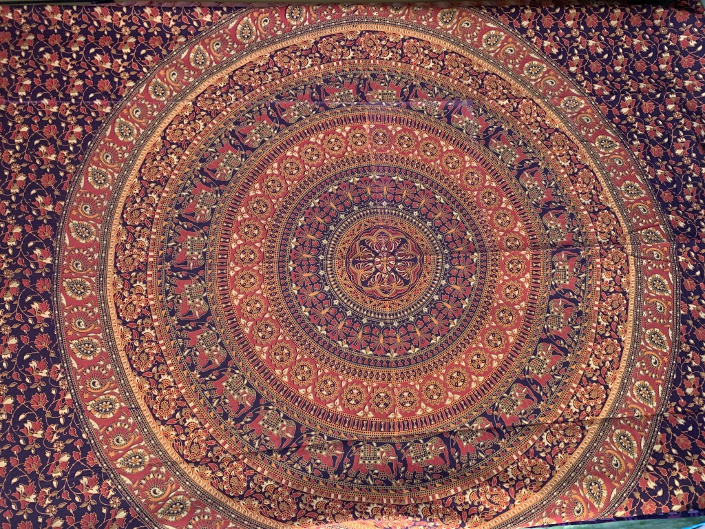 Red, Orange, Purple & Beige Floral Elephant Mandala Wall Tapestry