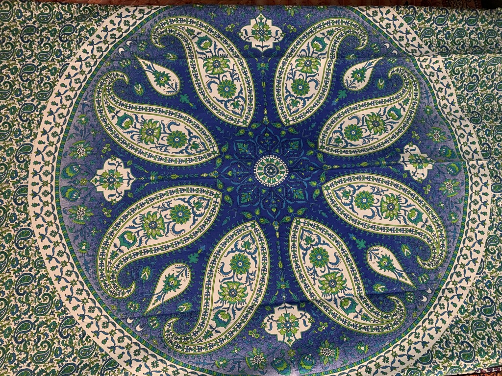 Green and Blue Paisley Mandala Wall Tapestry