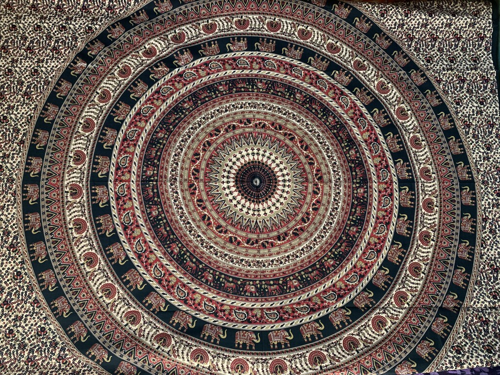 Red, Black, Beige & White Elephant Mandala Wall Tapestry