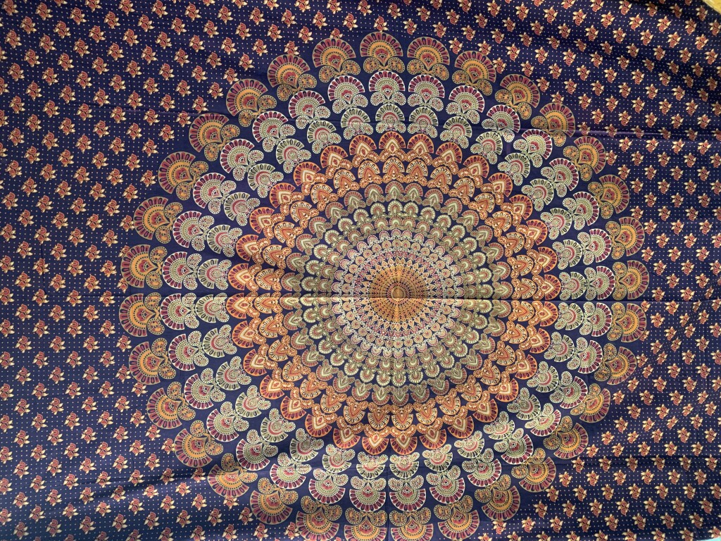 Blue, Orange, Navy Mandala Wall Tapestry