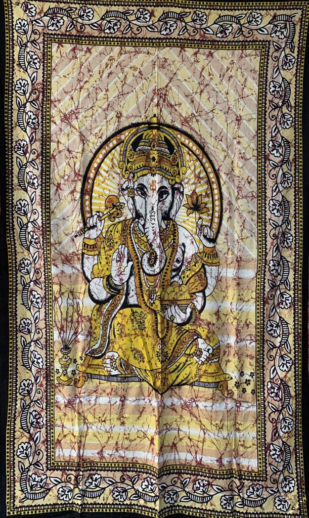 Yellow Sitting Ganesha Wall Tapestry