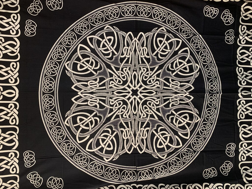 Black and White Woven Knot Mandala