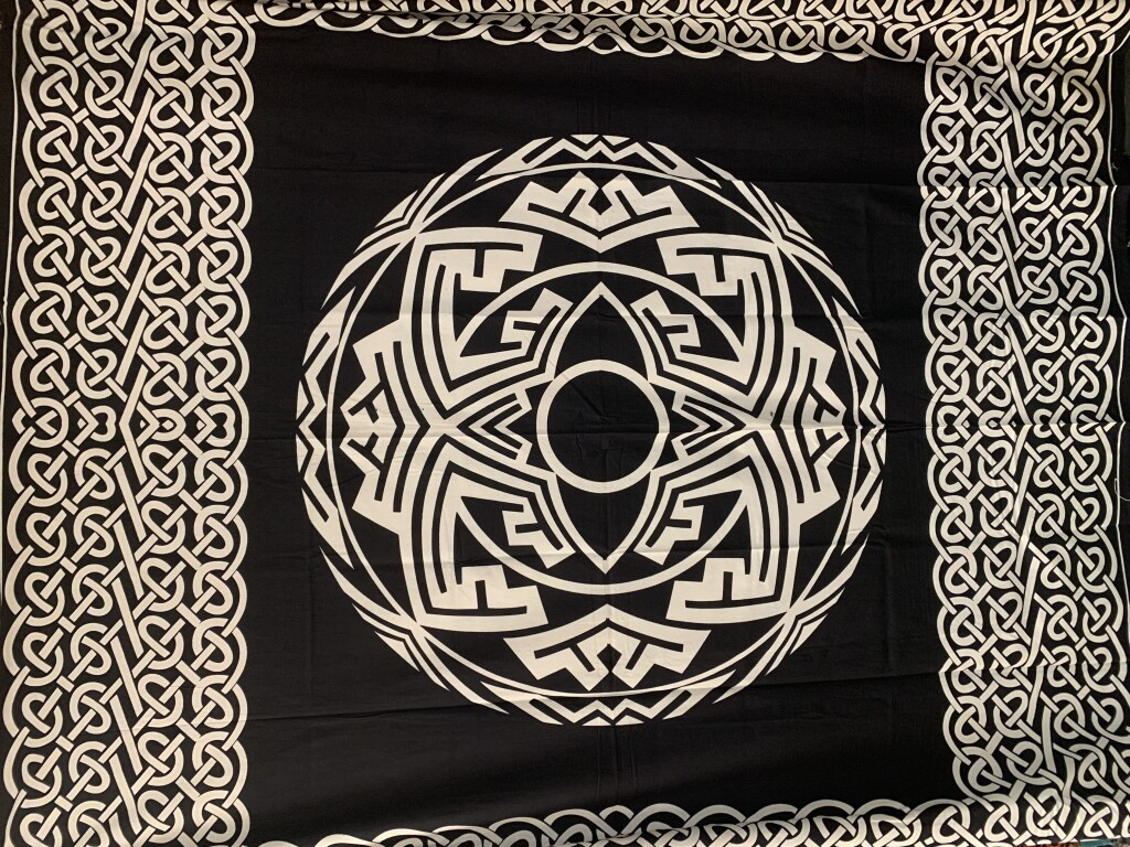 Black and White Aztec Disc Mandala with