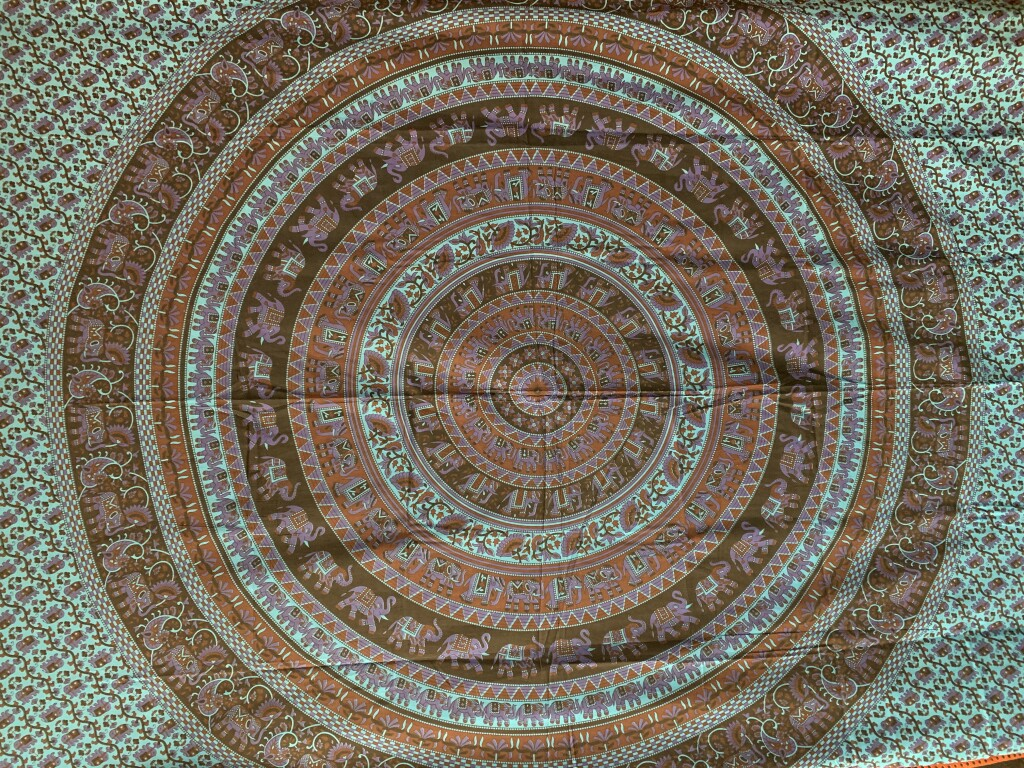 Teal, Red, and Black Elephant Mandala Wall Tapestry