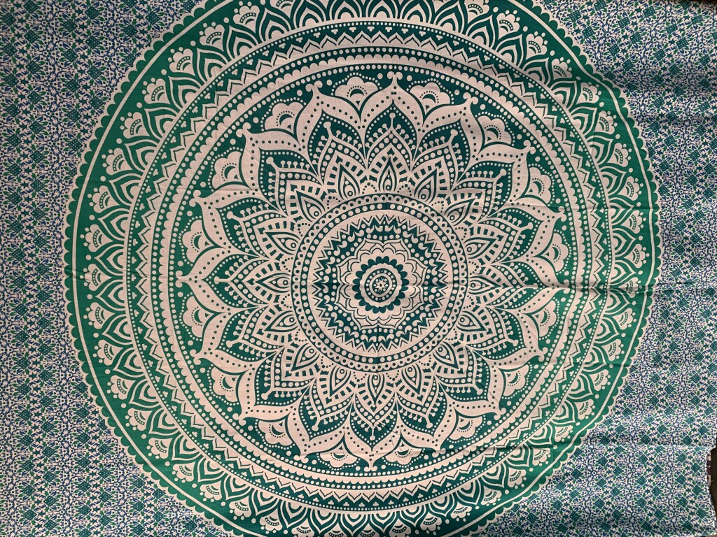 Blue Green and Mandala Wall Tapestry