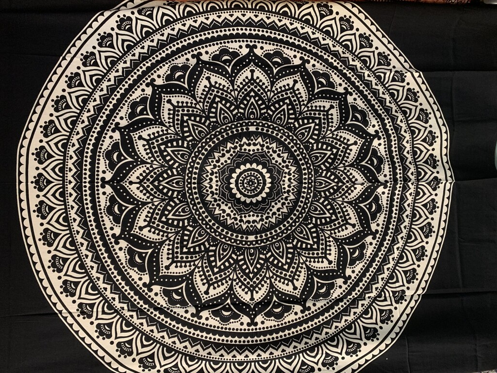 Black and White Mandala Wall Tapestry