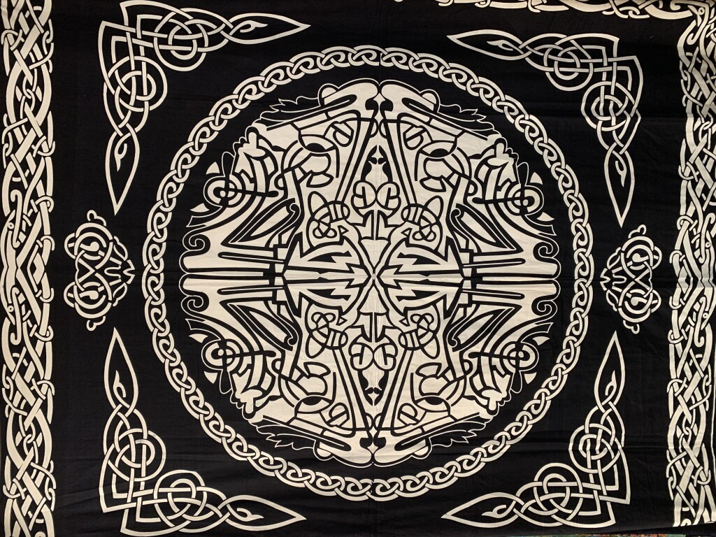 Black and White Celtic Knot Wall Tapestry