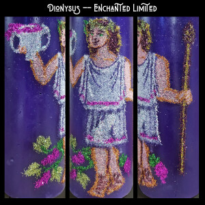 A triptych of the Dionysus Enchanted Limited candle: On a purple background, a dark haired youthful figure in a white and purple chiton, crowned in an ivy wreath, holding a pinecone tipped golden staff in one hand and in the other a large two handled drinking vessel with wine sloshing out, a vine of ripe purple grapes at their feet