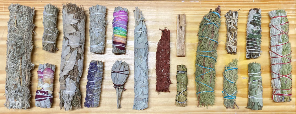 Mugwort, Pine with White Sage, Rose with White Sage, White Sage and Rosemary, Blue Sage, Blue Sage with Lavender, Seven Chakra Rose and White Sage, White Sage, Dragon's Blood Dipped White Sage, Palo Santo, Cedar, Juniper, Yerba Santa, White Sage with Peppermint, Eucalyptus, and Blue Sage, Cedar and Sweetgrass Herb Bundles for Smudging