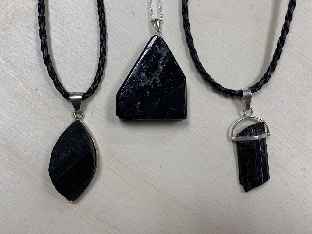 Black Tourmaline Raw and Semi Polished Pendants