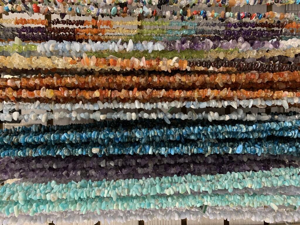 Blue Lace Agate, Amazonite, Amethyst, Apatite, Aquamarine, Carnelian, and Chakra Chip Necklaces