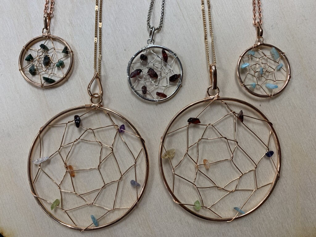 Small and Large Copper-Plated Dreamcatcher Necklaces