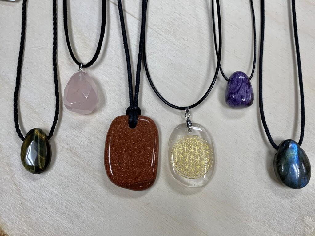 Blue Tiger Eye, Rose Quartz, Goldstone, Clear Quartz Flower of Life, Charoite, and Labradorite Crystal Necklaces