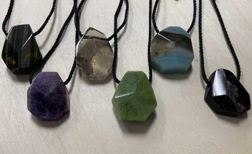 Blue Tiger Eye, Smoky Quartz, Nephrite Jade, Amazonite, Hypersthene Faceted Necklace