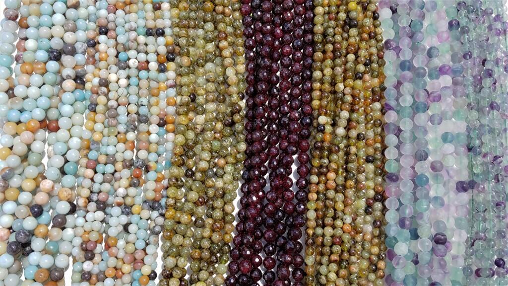 Amazonite Beads, Fluorite Beads, Green Garnet Beads, Faceted Garnet Beads