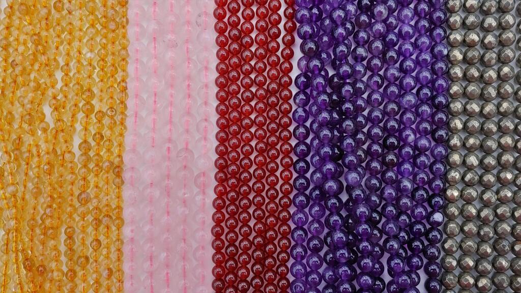 Brazilian Amethyst Beads, Carnelian Beads, Citrine Beads, Faceted Pyrite Beads, Rose Quartz Beads